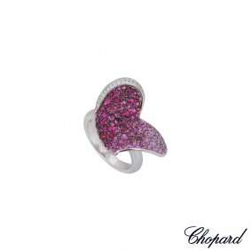 Chopard White Gold Multi-Gemstone Heart Flower Ring 82/4299-1308